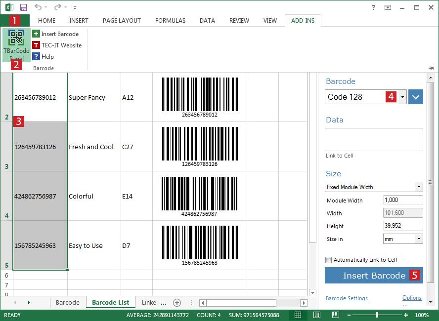Tạo mã vạch sản phẩm và cá nhân bằng Microsoft Excel
