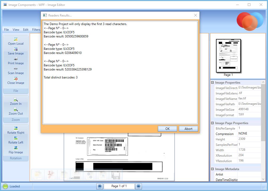 Phần mềmquét mã vạch BarCode By Image Components