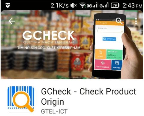 Gcheck cũng có chức năng thông báo với hàng nhái, hàng giả.