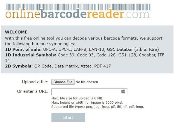 Online Barcode Reader
