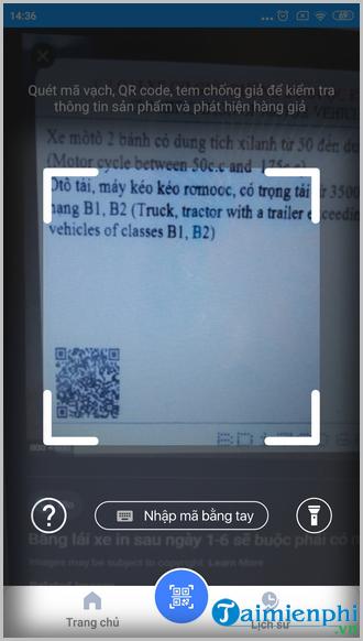 Cách quét mã vạch bằng lái xe kiểm tra thông tin chính xác